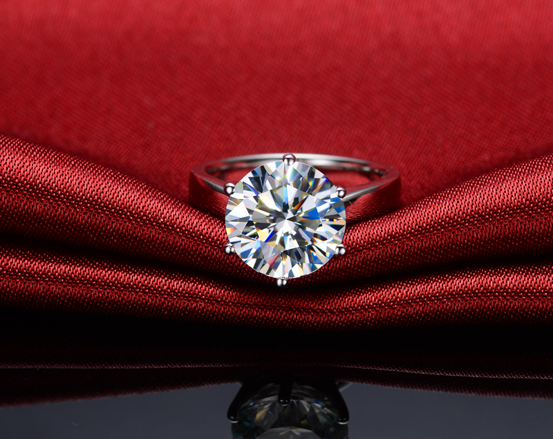 Gran Piedra marca estilo 6CT ronda de diamantes, anillo de compromiso, anillo de Plata de Ley 925 anillo de plata blanco cubierta de oro-in Anillos from Joyería y accesorios    1