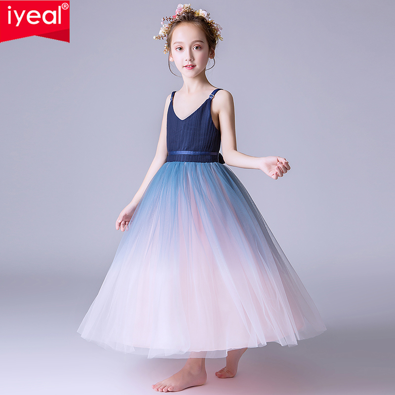 IYEAL Girl Sleeveless V-neck Princess Pageant Dresses Kids Prom Ball Gown Tulle Long Dress for Children 4-14 Years old