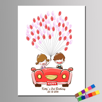 HAOCHU Custom Names And Date Kid Birthday Guestbook For Happy Boy And Girl Fingerprint Wedding Decoration