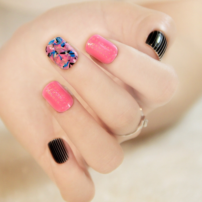 Nail Care, Manicure & Pedicure 24 Pink Black Striped Acrylic Nails 24pcs Nail Art Tips For Nail Decoration Z441