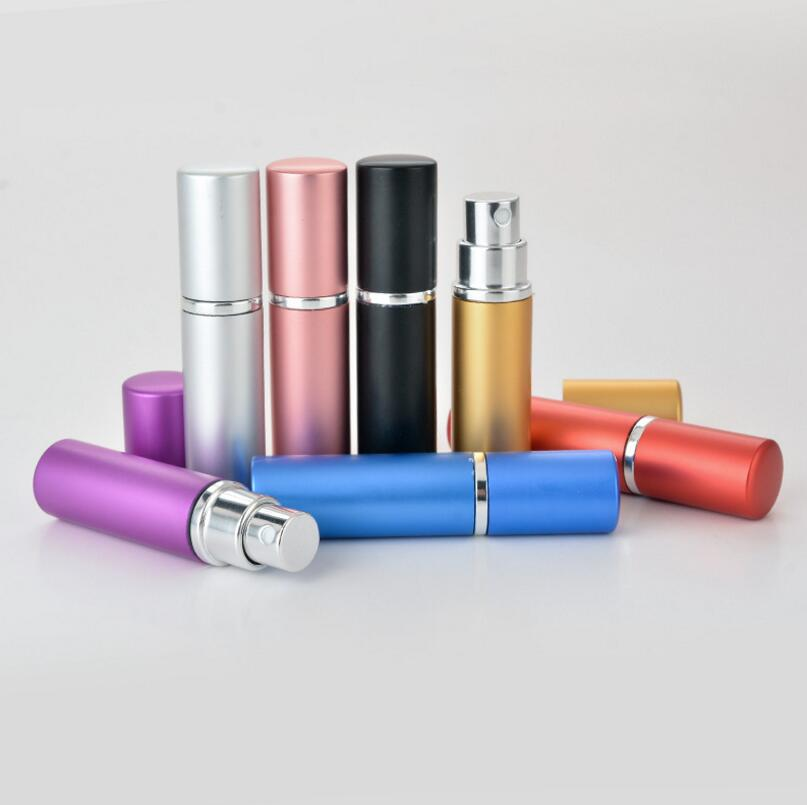 Wholesale 5ml Fashion Refillable Atomizers Travel Spray Perfume Bottles Metal Cosmetic Container