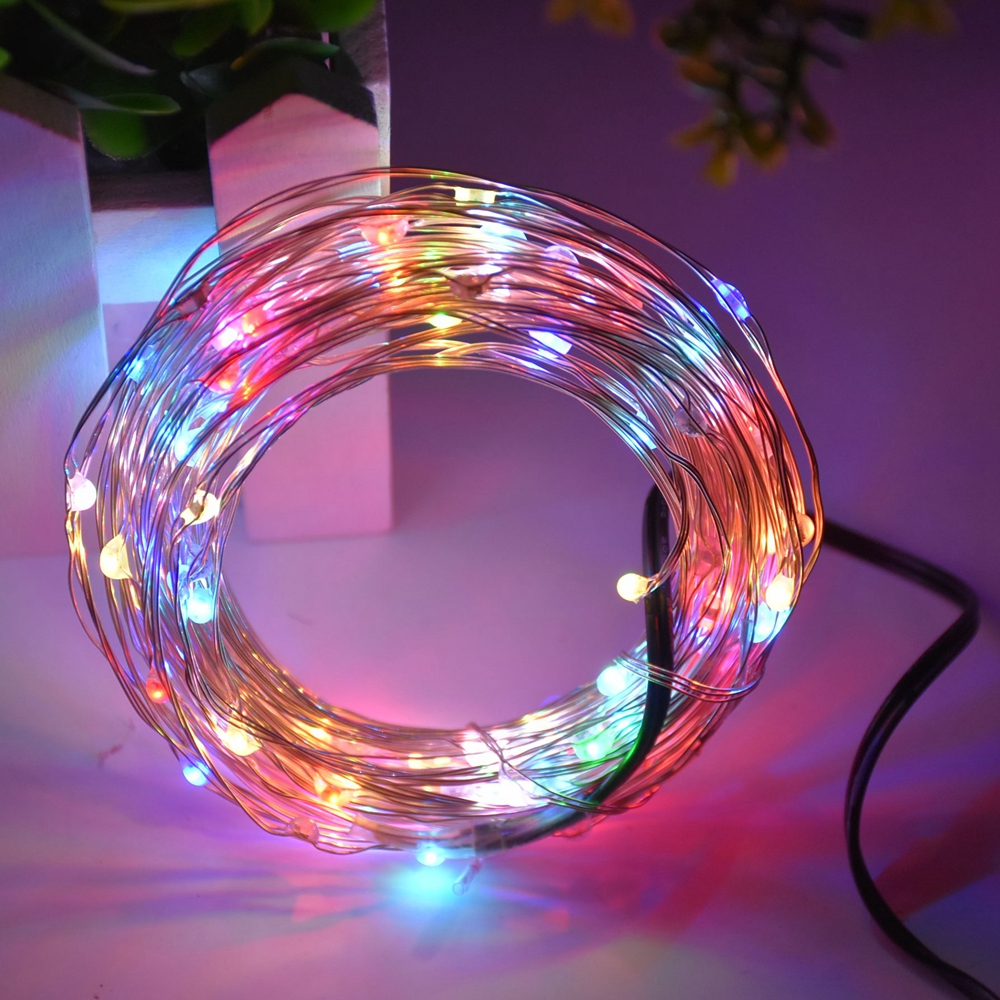 Warford free shipping DC12V 5M New Holiday Silver wire led string 50 LEDs Vines for Christmas Home Party holiday Decoration