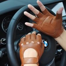 Driving Non-Slip Real Leather Gloves Male Half Finger Gloves Sheepskin Fitness Dance Tactical Semi-Finger Man's Gloves NB8003 boodun fighting ghost shell tactical gloves wear resistant non slip mechanical tactical gloves fitness gloves