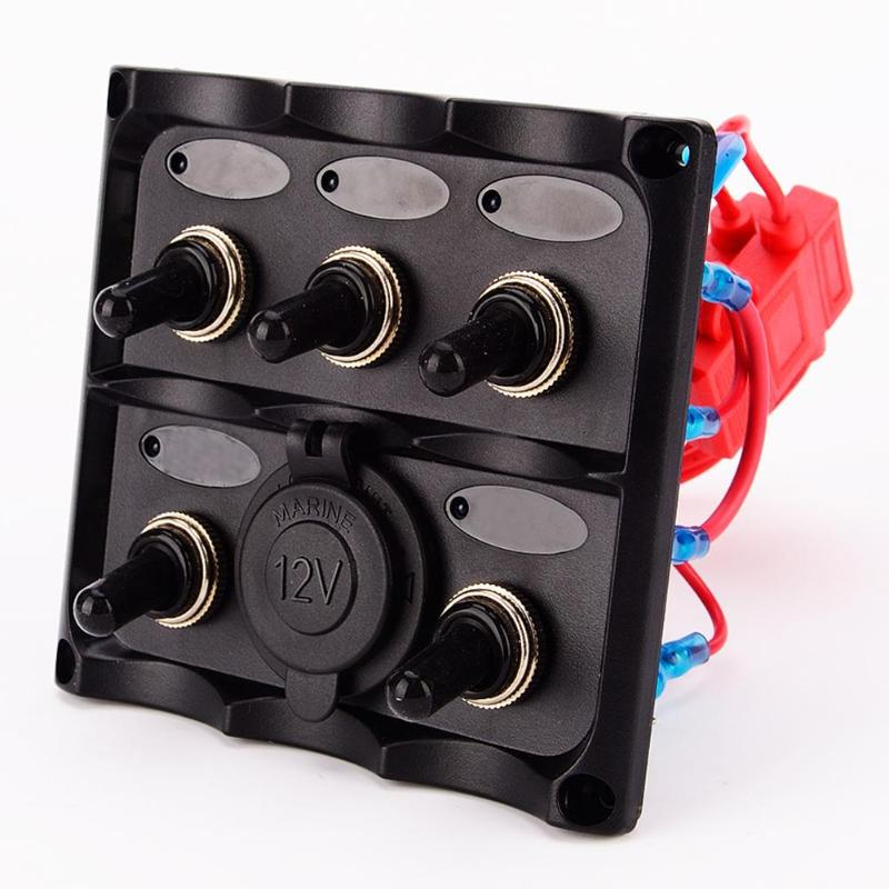 VODOOL 12-24V 5 Gang LED Blue Light Car Boat Toggle Switch Panel Power Socket Vehicle RV Yacht ON/OFF Switch With Fuse Protector