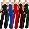 Playsuits Bodysuits Novo 2016 Jumpsuit mulheres em geral Preto costura branca Sling Halter sexy moda tamanho Grande calças macacões