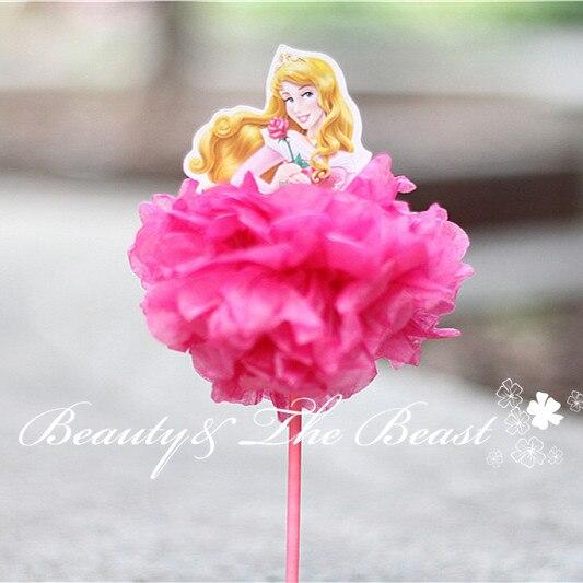 7 2 Printed Both Sides Princess Aurora Ariel Belle Cupcake Toppers