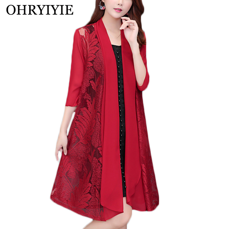 OHRYIYIE Plus Size 5XL Thin Long Cardigan Women 2020 New Spring Summer Casual Floral Printed Knitted Sweater Ladies Outwear Coat