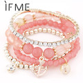 Trendy Fashion Summer Charms Ball Bracelet Crystal Imitation Pearl Anchor Color Multilayer Bracelet & Bangle For Women Jewelry