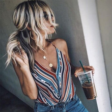 2019 Spring and Summer Womens New Tops Sling V-neck Color Vest Striped Female Loose Shirt