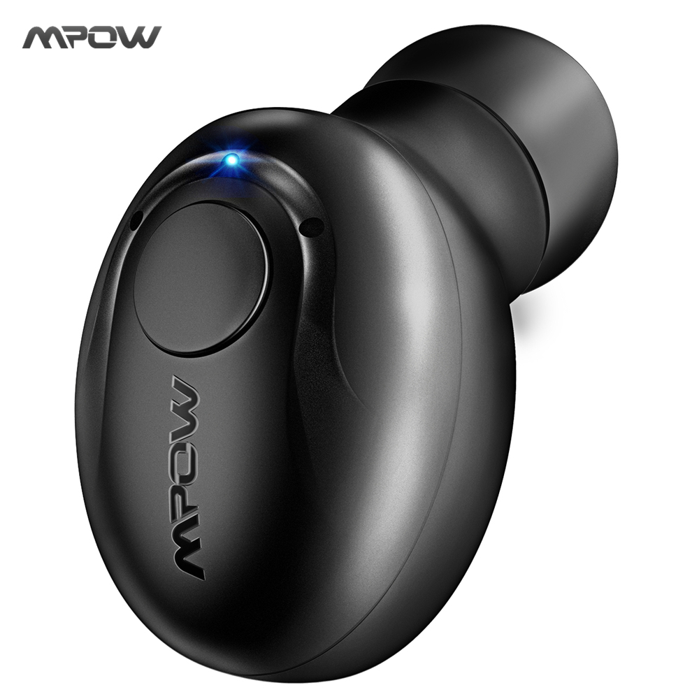2017 MPOW Single Bluetooth Headphone Wireless Earphone Mini Invisible Earpiece Earbud W Mic 2 Magnetic Chargers