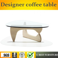 U BEST modern design high quality glass top coffee table,home furniture bent tempered coffee table glass top center table design