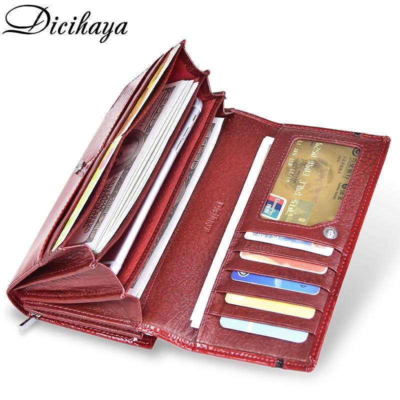 DICIHAYA Genuine Leather Women Wallet Multifunction Womens Clutch Wallets Brand Purses Femme Billetera Card Holder Phone Bag