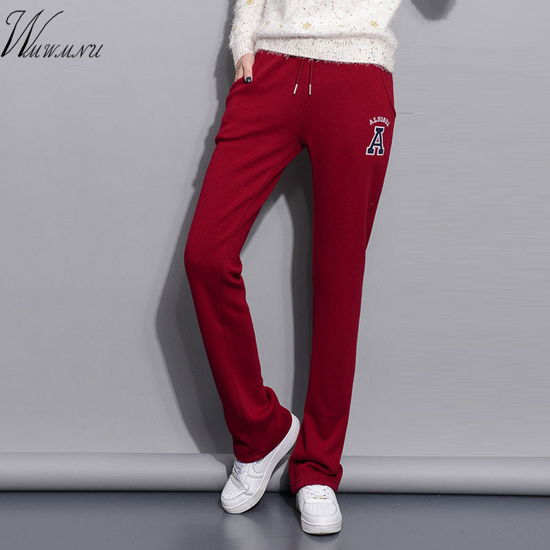 Winter Warm Embroidery   Wide     Leg     Pants   2018 Women Elastic Casual Lace Up Workout   Pants   High Quality Cotton Legging Fitness