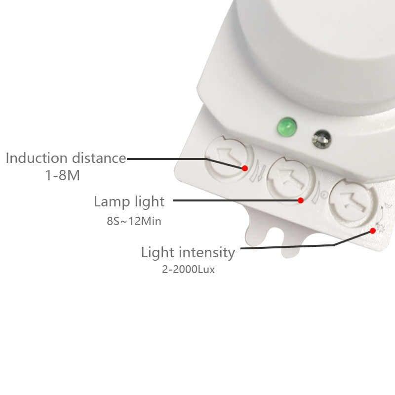 Sistema de 5,8 GHz LED microondas 360 grados Radar Sensor de movimiento luz interruptor automático luz de techo cuerpo Detector de movimiento pequeño- escala