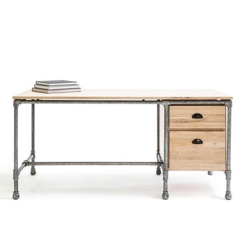 agent american vintage wrought iron casual computer desk office desk rustic wood deskchina besi office computer desk