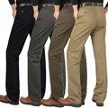 Homens de Negócios Casuais Calças Retas Soltas Calças de Inverno do Outono do Algodão Calças de Cintura Alta Tamanho Lager Pantalones De Los Hombres