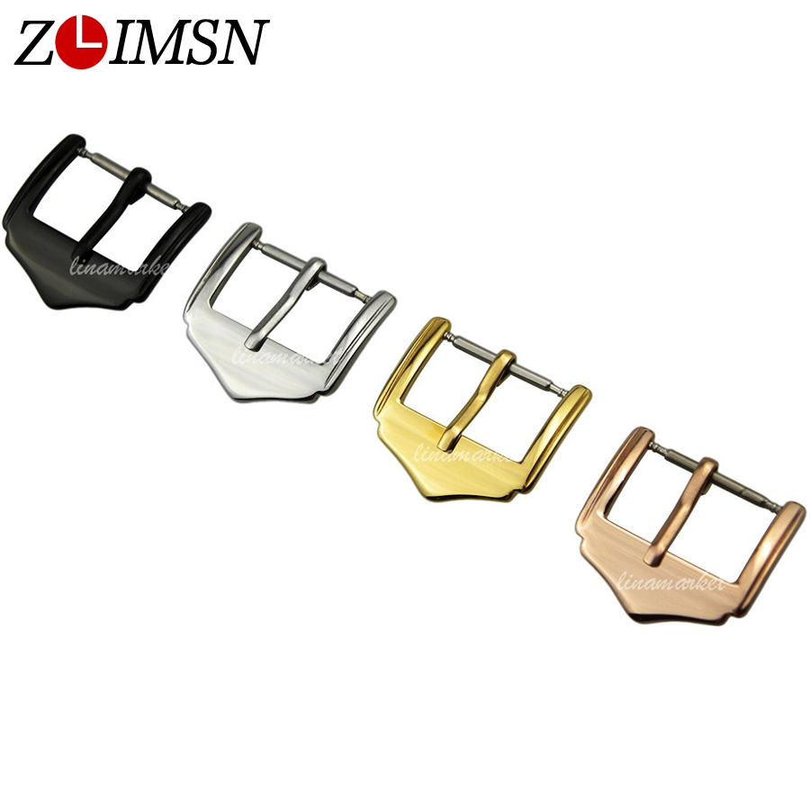 ZLIMSN Stainless Steel Buckle Watchbands Polished Pin Buckles Black Silver Rose Gold Color 10 12 14 16 18 20 22mm K11 zlimsn watch band buckles stainless steel leather straps buckle watchbands 4 colors 16 18 20 22mm watches accessories