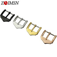 ZLIMSN Stainless Steel Buckle Watchbands Polished Pin Buckles Black Silver Rose Gold Color 10 12 14 16 18 20 22mm K11(China)