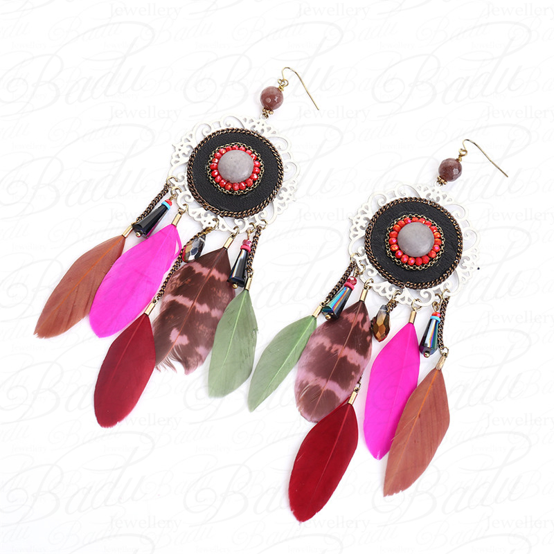 HTB1F2wzgHsTMeJjSszgq6ycpFXaZ - [Clearance] Women Vintage Bohemian Feather Earrings Filigree Colorful Feathers