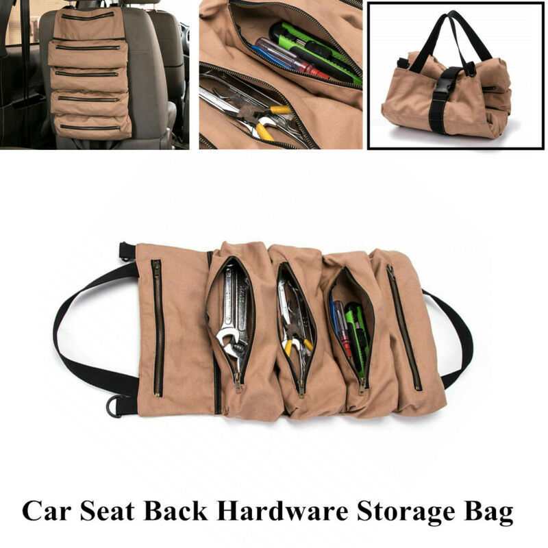 Portable Car Seat Back Tool Roll Plier Screwdriver Wrench Storage Bag Pouch Kit(China)