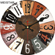 MEISTAR 4 Patterns Vintage Wooden Design Clock Silent Home Decor Cafe Office Kitchen Watches Wall Art  6 inch ( 15 cm )