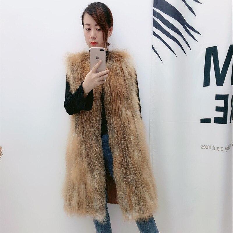 gray Longue Veste Manteau Femmes Femme Renard Zl669 2018 Coréenne Gilet white De Fourrure Vêtements Chaud Hiver Brown F3ulKTJ1c