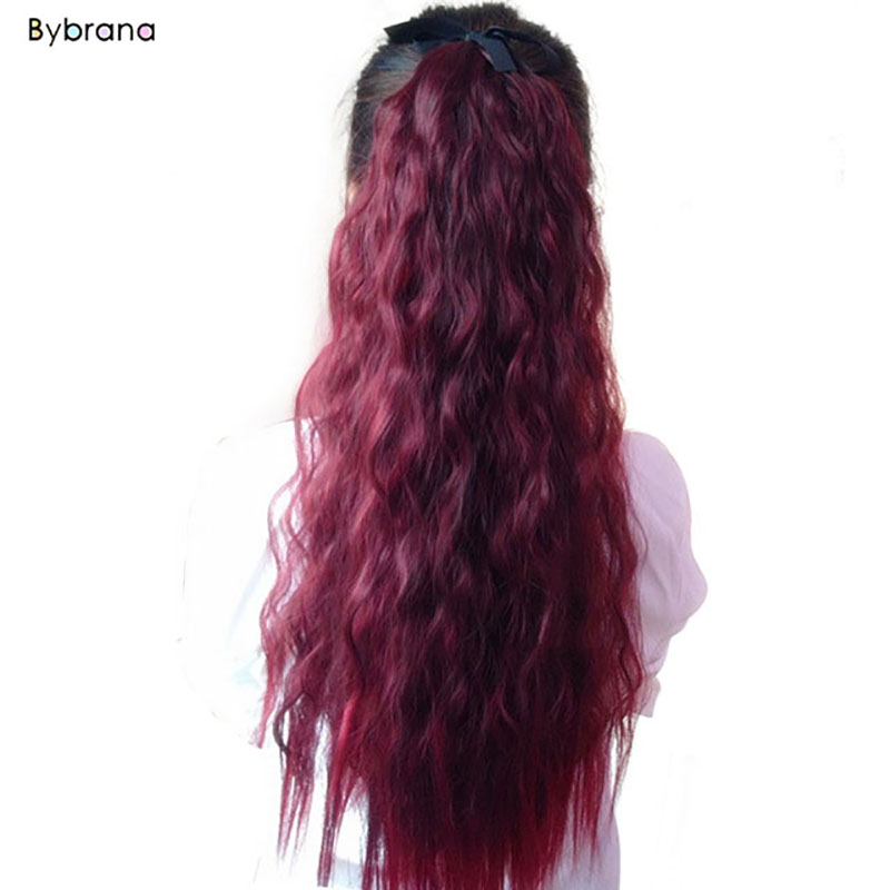 "2019 Latest Design Bybrana 20"" Long Wavy Ponytail Natural Synthetic Tail Bjd Wigs Hair Extensions Wrap Hair Ponytails Hair Piece Superior Materials"