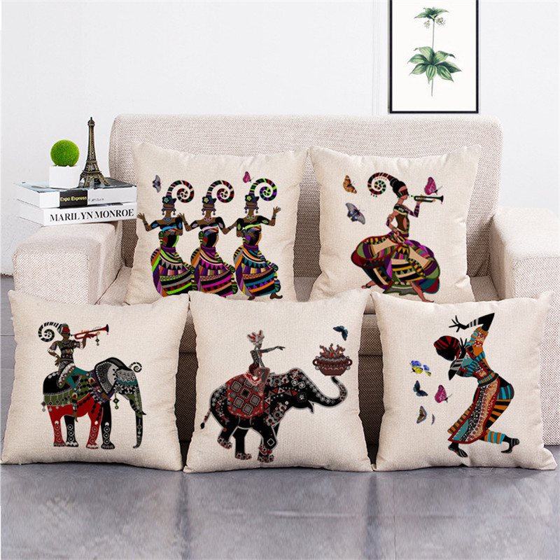 wholesale wedding gift African costume national costume dance ride elephant decorative cushion cover car home sofa pillow case