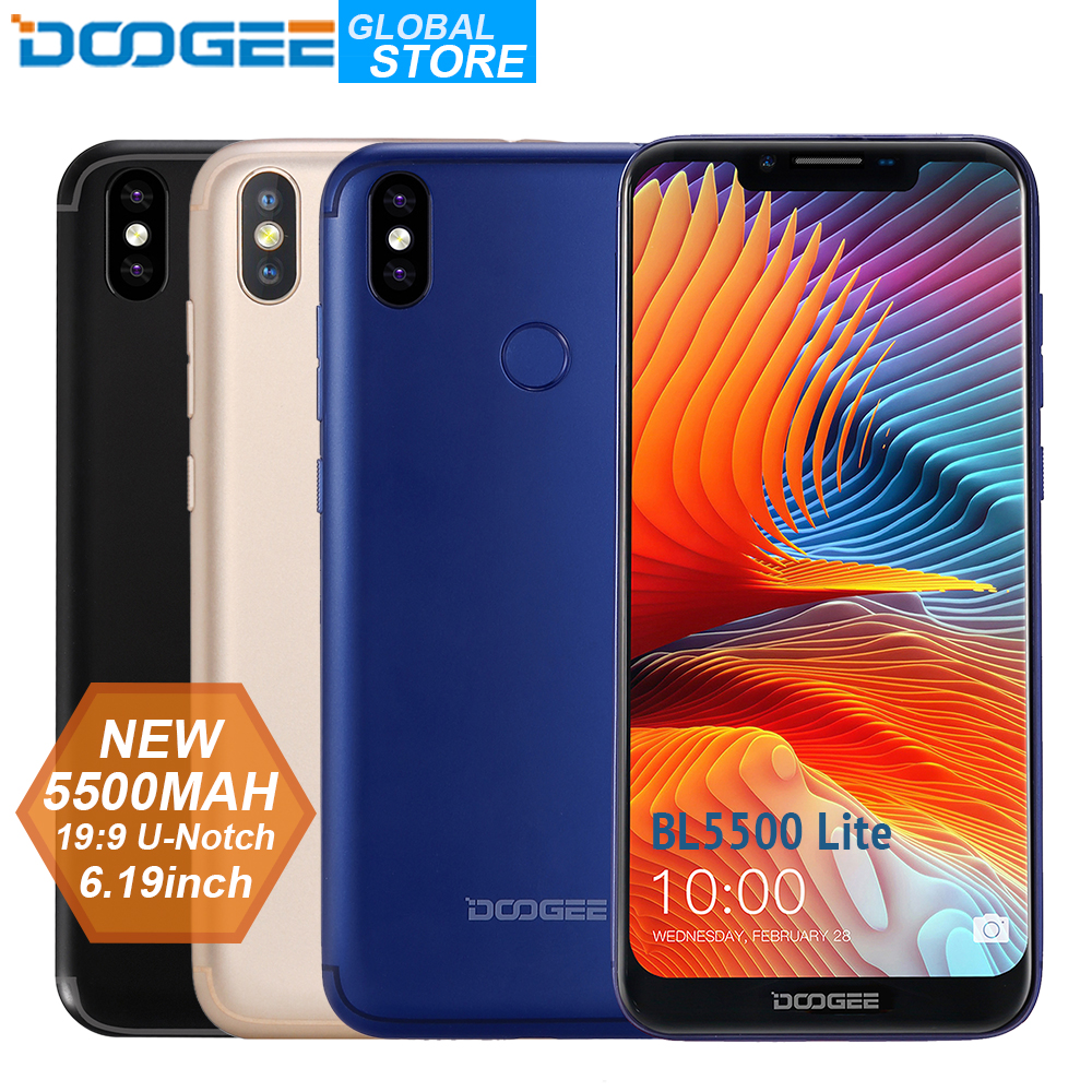 NEW U-Notch DOOGEE BL5500 Lite Smartphone 6.19 inch MTK6739 Quad Core 2GB RAM 16GB ROM 5500mAh Dual SIM 13.0MP Android 8.1 FDD
