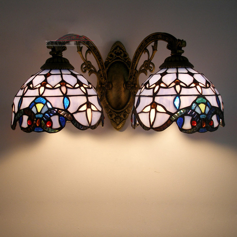 Vintage Tiffany Mediterranean style Baroque Blue glass LED Wall Sconce Indoor Lighting Lamp E27 AC 110/220V Double Wall Light tiffany mediterranean style peacock natural shell ceiling lights lustres night light led lamp floor bar home lighting