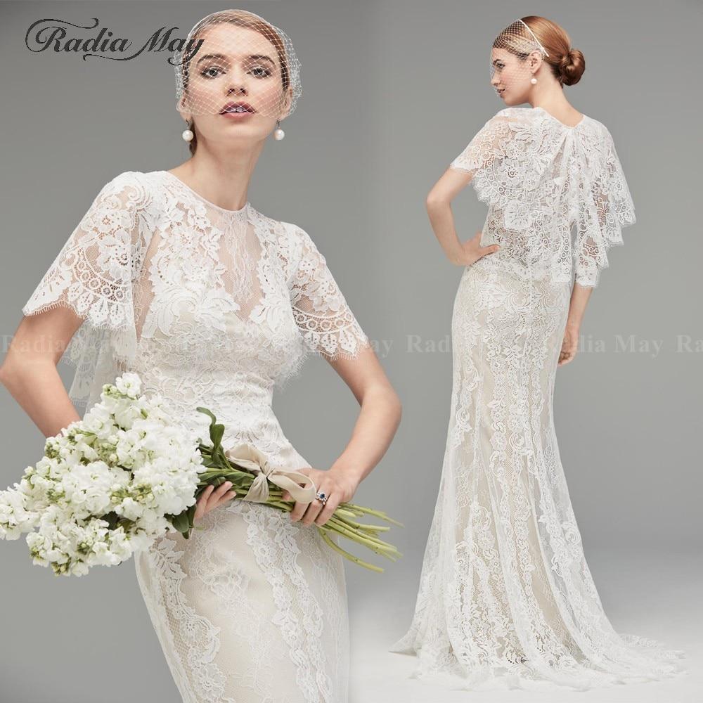 Vintage Ivory Lace Mermaid Boho Wedding Dress Cape Sleeves Rustic Country Wedding Dresses 2019 Elegant Hippie Beach Bride Gowns