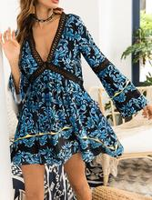 Hollow stitching long sleeve fall dresses printed velvet large swing dress hot new style