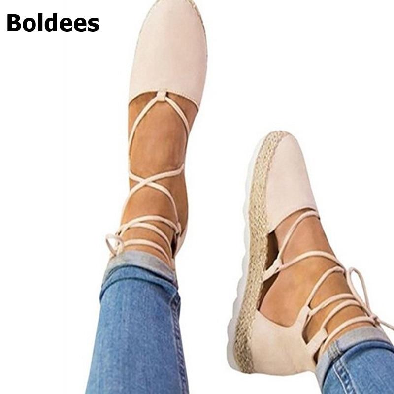 Espadrille Women Canvas Flats Ankle Strap Hemp Bottom Fisherman Shoes For 2018 Spring/Autumn Women Loafers Plus size 44 все цены