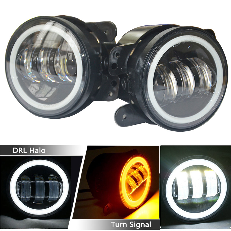 1 Paar 4 Inch Ronde Led Mistlamp 30 W Projector Lens Met Halo Ring Drl Lamp Off Road White Mistlampen Voor Jeep Jk Dodge Cherokee