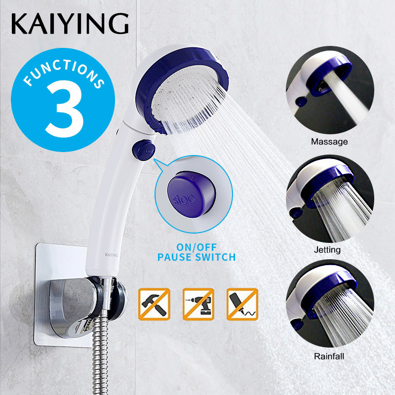 KAIYING Drill-Livre de Alta Pressão Cabeça de Chuveiro Handheld com ON/OFF Interruptor de Pausa 3 Modos de Pulverização de Água Destacável showerhead poupança