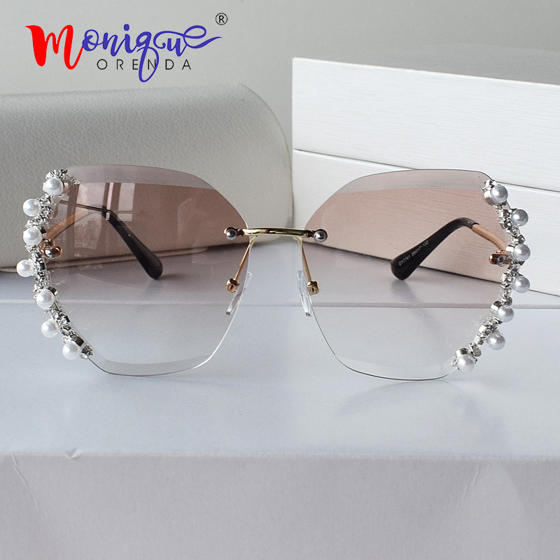 Rimless Sunglasses Shades Women Ladies Luxury Brand Designer Pearl Decorative Gradual-Lens