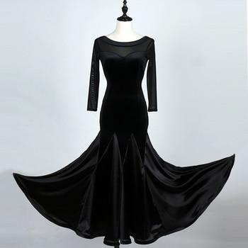 Lady Velvet Satin Dancing Dress Girls Modern Dance Competition Suit Female Standard Dancing Suit Dress Long Suit  D-0145