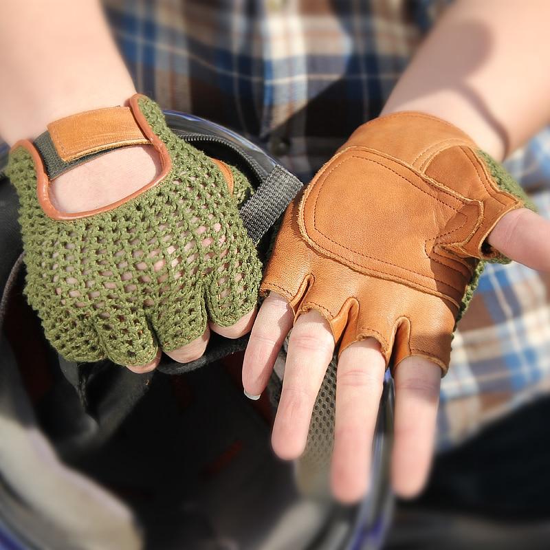 Мужские перчатки из натуральной кожи с полупальцами, модные вязаные дышащие перчатки из овчины с ручной спинкой для вождения, TB06