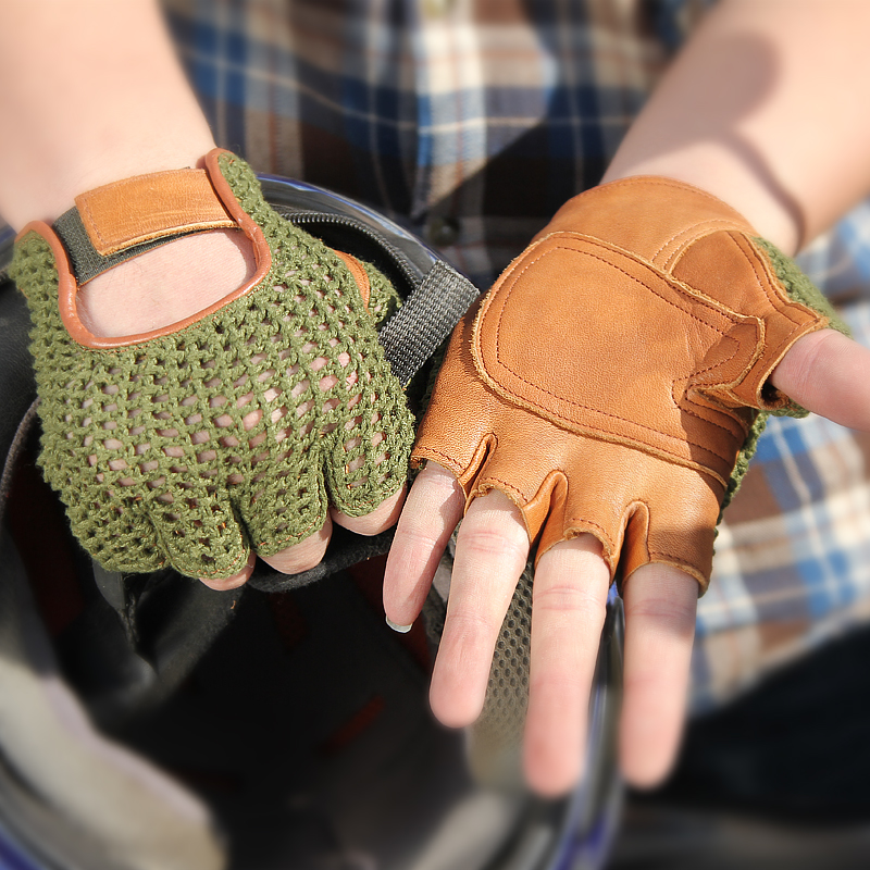 Genuine Leather Semi-Finger Men Gloves Half Finger Sheepskin Fashion Hand Back Knitted Breathable Driving Leather Gloves TB06