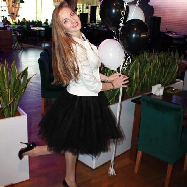 Petticoat 5 Layers 60cm Tutu Tulle Skirt Vintage Midi Pleated Skirts Womens Lolita Bridesmaid Wedding faldas Mujer saias jupe 3