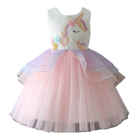 Fashion Girls Dress Unicorn Embroidery Beading Elegant Princess Dresses For Evening Party Tulle Dress Kids Summer Clothes
