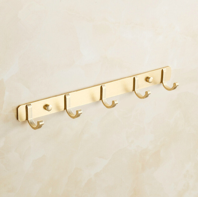 Badkamer aluminium golden doek robe haak muur doek vijf pecs rij ...