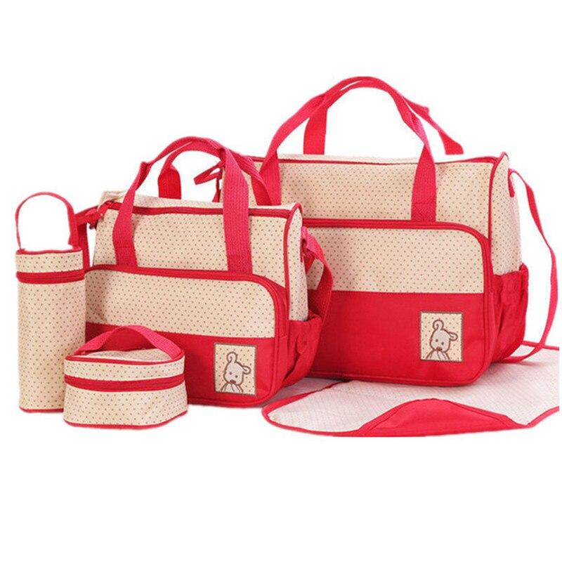 Waterproof 5PCS/Set Nylon Baby Diaper Bags Multi-function Large Capacity Mummy Bag Aslant Baby Backpack Diaper Bags