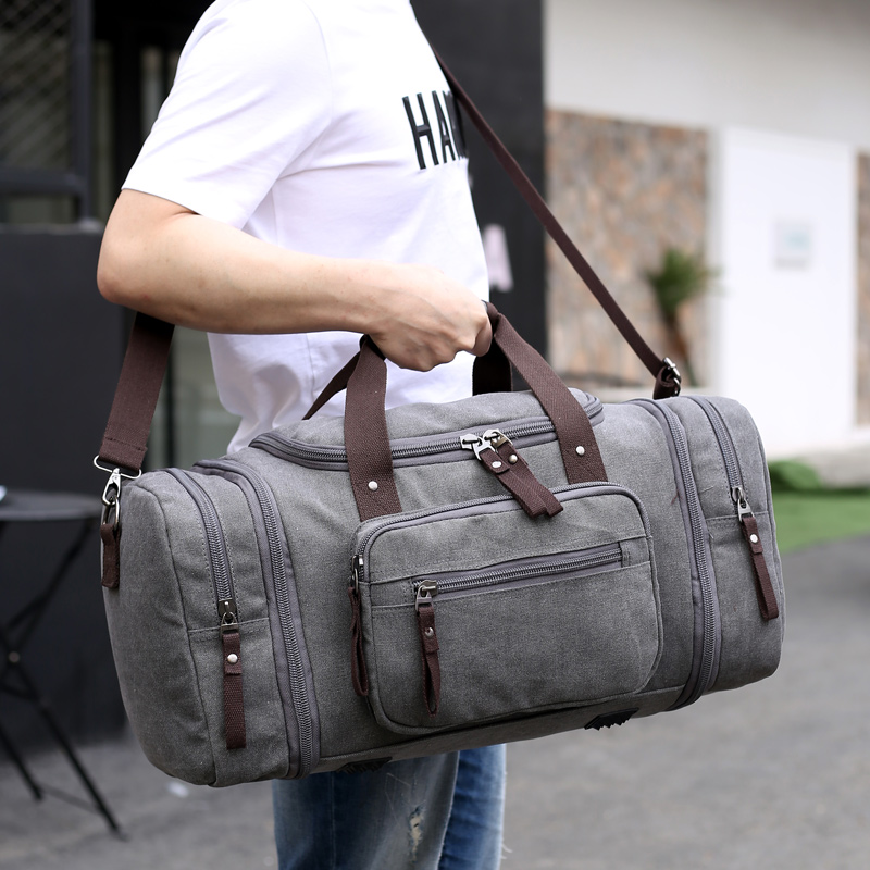 KVKY Large Capacity Men Duffle Bag Canvas Hand Luggage Travel Bags Weekend  Shoulder Bags Multifunctional Overnight 78732aed59cd2