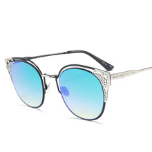 2017 new personalized fashion sunglasses Fashion Women Wear metal pattern paint all-match glasses