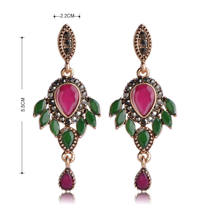 Blucome Turkish Jewelry Set For Women Antique Gold Color Resin Flower Pendant Necklace Drop Earrings Set Crystal Vintage Schmuck 1