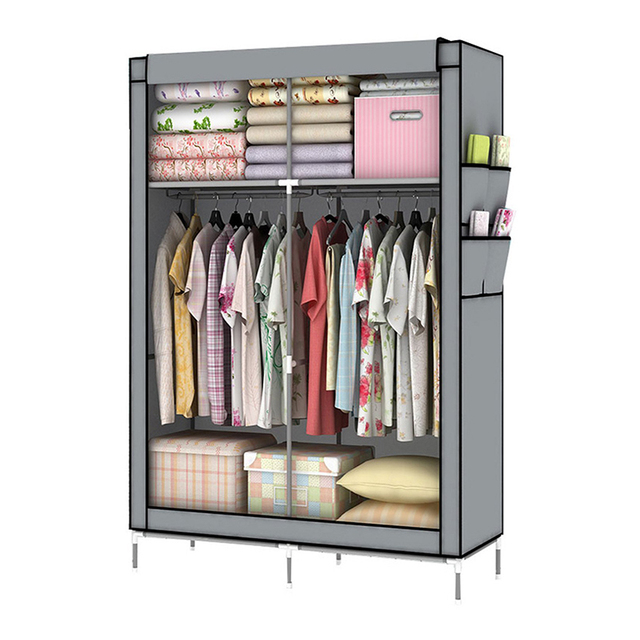 YOUUD DIY Assamble Simple Folding Reinforcement Portable Clothes Closet  Wardrobe Fabric Clothes Storage Organize