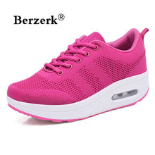 spring women fitness shoes girls Slimming swing shoes outdoor air sole sneakers female wedges Walking Shoes ladies size 35-40