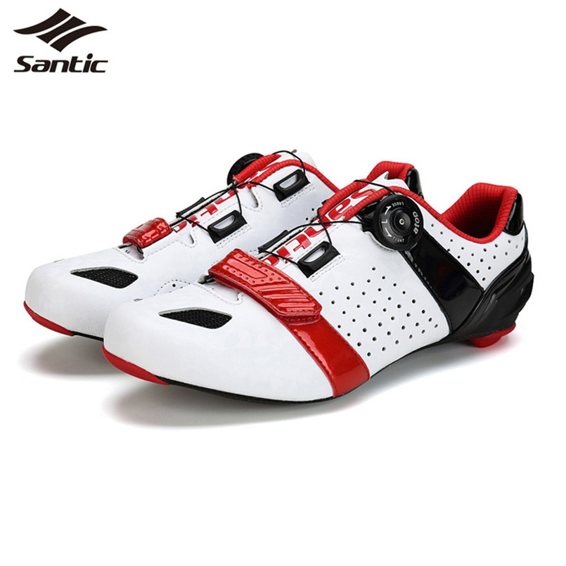 Santic Cycling Shoes Men Carbon Fiber Locking Athletic Bicycle Shoes Zapatillas Sapatilha Ciclismo Road Bike Shoes For Sports