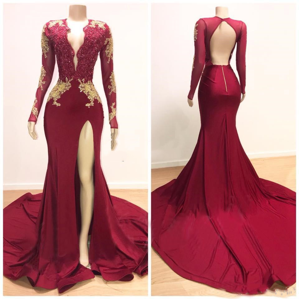 2019 Burgundy Deep V Neck   Prom     Dresses   Mermaid Lace Long Sleeves Backless Sexy Side Split Formal Evening Party   Dress   Maxi Gown